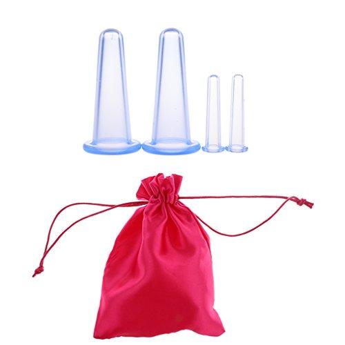 MagiDeal 4pcs Silicone Massage Ventouses Coupes Anti-cellulite Vacuum Massage Amincissant Tasse Vide à Aspiration XS / S - Soins de Beauté + Sac de Rangement - Bleu