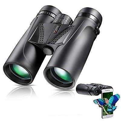10x42 Binoculars for Adult - Compact Lightweight Binoculars for Bird Watching & Hunting, Waterproof & Fog-Proof Binoculars with 18mm Large Eyepiece, Professional HD Binoculars with Smartphone Holder