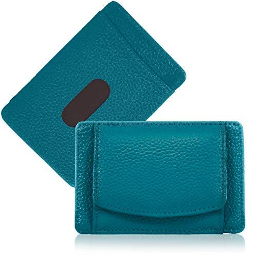 GISELLE パスケース コインケース付き 牛革 レザー 定期入れ 小銭入れ ミニ財布 小さい財布 カード入れ IDケース メンズ レディース カードケース (Turquoise/ターコイズ)