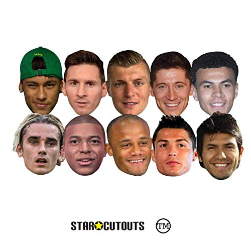 Star Cutouts Ltd SMP371 Fußball World Super Party 10 Masken Pack imcludes Ronaldo, Aguero, Messi, Kroos, Lewandowski, Mbappe, Griezmann Amazing Sprechpunkt für Turnier-Fans, mehrfarbig