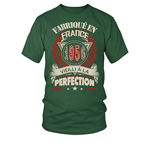 TEEZILY T-Shirt Homme Fabriqué en France 1956 Vieilli à la Perfection - Vert Bouteille - XL
