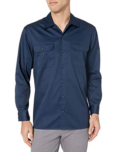 Amazon Essentials Long-Sleeve Stain and Wrinkle-Resistant Work Shirt camisa, Azul (Navy), ((Talla del fabricante: Large)