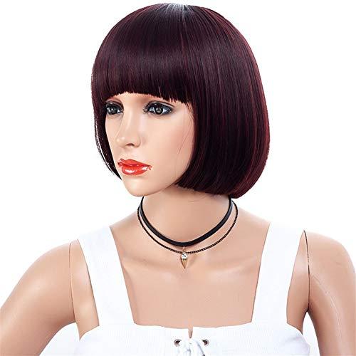 Femme Lady Fashion perruque, Air plat Liu Haibo vague tête perruque visage naturel perruque Pour la danse de fête quotidienne (Color : Maroon)