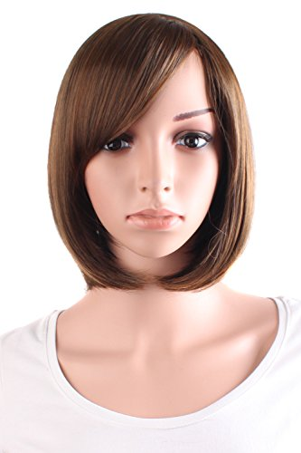 MapofBeauty 12 Pouce/30cm Simple Souple Bangs Oblique Lin Court Droit Cheveux BOBO Perruques (Brun)