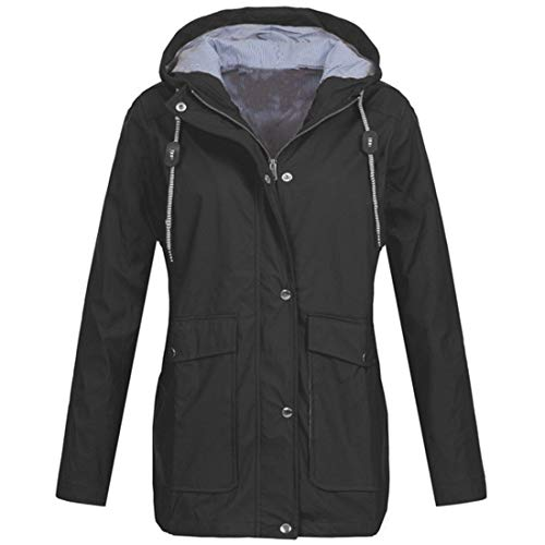 Women Coat Women Jacket Transition Jacket Solid Color Windproof Zipper Jacket Autumn and Winter New Warm Slim Fashion Casual Women Hooded Jacket with Pockets D-Black 4XL