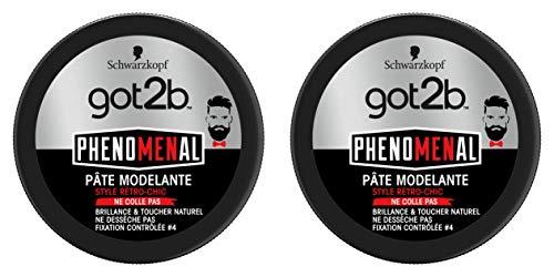 got2b - PhenoMENal - Pâte Modelante Cheveux - Pot 100 ml - Lot de 2
