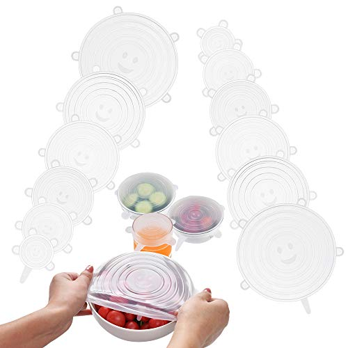 Silicone Stretch Lids, PAIU 12 Pack Reusable Durable Food and Bowl Covers 6 Sizes to Meet Most Containers, Silicone Covers for Microwave, Dishwasher & Freezer to Keep Food Fresh