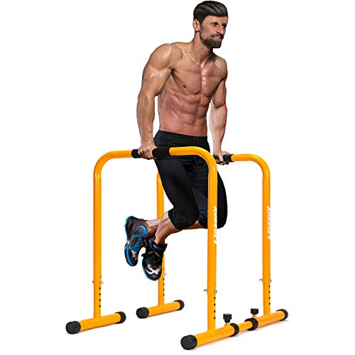 KOMSURF Dip Bar Training Station – Dip Station Upgraded Heavy Duty Dip Bars with Adjustable Safety Connector, Strength Training Parallel Bars for Home Exercise,550Lbs Weight Capacity, Yellow