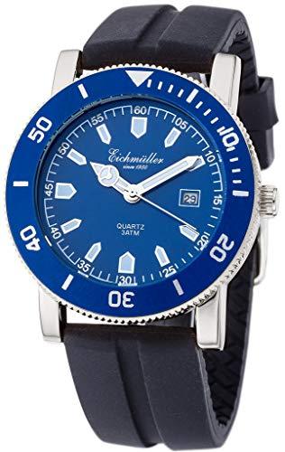 Herrenarmbanduhr | Quarz mit Datumsanzeige | Silikonband > schwarz | Ziffernblatt > blau | 36442