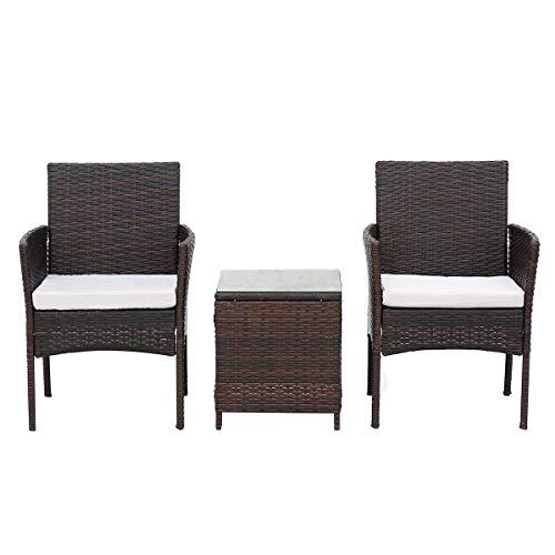 NMDD Muebles de jardín al Aire Libre de ratán marrón, Silla de Patio de 3 plazas, sofá, sillón y Mesa de Centro con cojín de Asiento, Tejido de Mimbre, conservatorio (marrón 2 plazas)