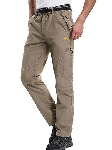 Men's Convertible Pants Zipp Off Durable UPF 50+ Quick Dry Cargo Shorts Trousers,M4409,Khaki,US 29