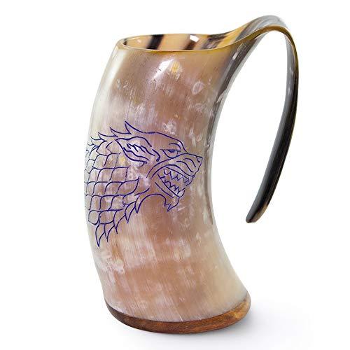 Norse Tradesman Jarra Vikinga de Cuerno Auténtico | 750 ml Taza Cerveza de Cuerno con Base de Palisandro y Grabado de Juego de Tronos |'El Fenrir'