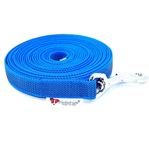 Twinkys Dog Style Made IN Germany Schleppleine Hundeleine gummiert 20 mm breit für Hunde bis 50 kg - OHNE Handschlaufe 5 Meter Blau