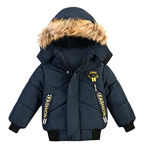 Abrigo de invierno para niños, chaqueta de plumón para niños, con estampado de letras, cremallera completa, chaqueta de invierno gruesa forrada, chaqueta acolchada con pelo, cortavientos