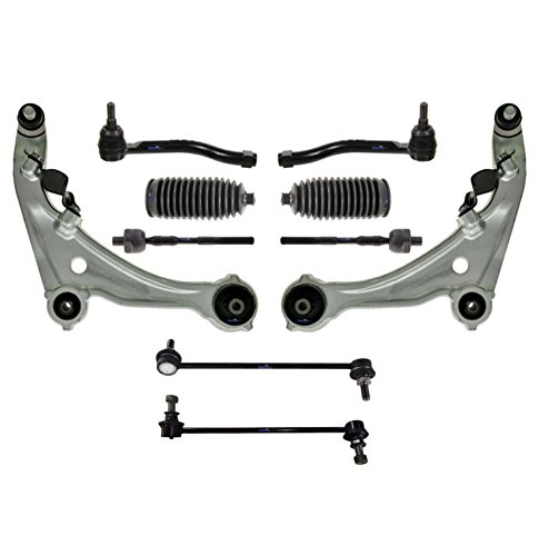 10 Pc Complete Suspension Lower Control Arm with Ball Joints Rack & Pinion Bellow Boots Tie Rod Ends & Sway Bars