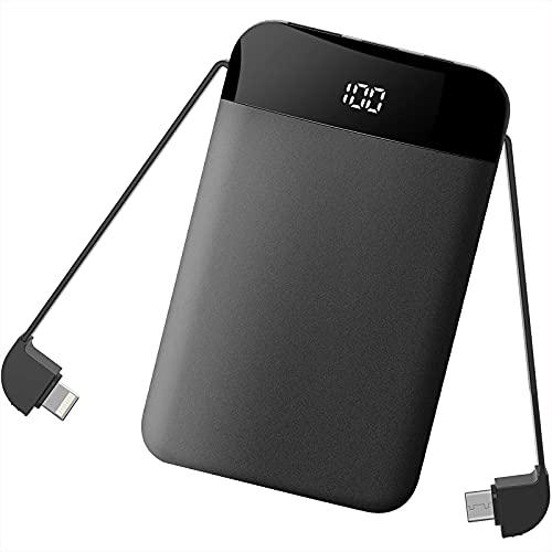 Powerbank 9000mah Klein 5V 2A mit Kabel Micro USB C Output Handy Akku Externer Battery mit Led Anzeige für iPhone Android