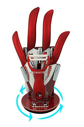 EwigYou 6-TLG Rotes Keramikmesser-Set 4 Keramikmesser mit Pflaumenblüte Mustern und 1 Sparschäler Allzweckmesser Küchenmesser mit Messerblock