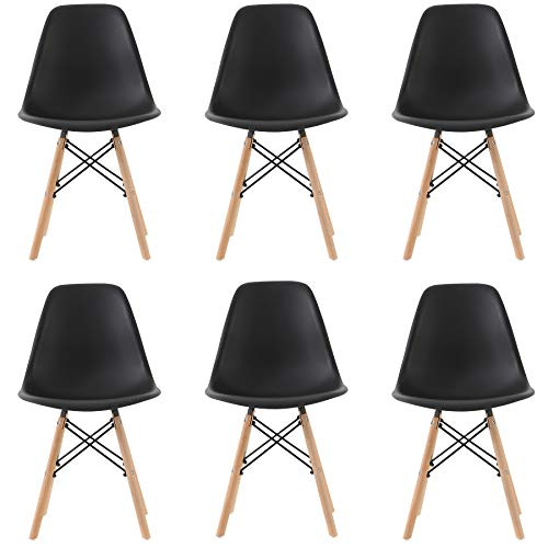 Pack 6 sillas de Comedor Silla diseño nórdico Retro Estilo (Black 6)