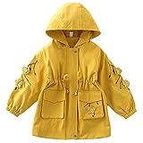 LJENFCI Giacca per Bambina con Cappuccio Trench Cappotto Corto di Transizione con Cappuccio Doppio Strato Motivo Floreale 3D, Giallo, 160cm