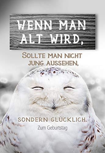 Geburtstagskarte Eule, Geburtstagskarte lustig, im Format DIN B6 176 x 125 mm, Klappkarte inkl. Umschlag, Motiv: Eule