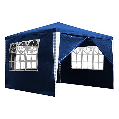 TolleTour 3x3m Pavillon Wasserdicht UV-Schutz ochzeit Festzelt Stabiles hochwertiges Gartenpavillon mit 4 Seitenteile für Garten Festival Party