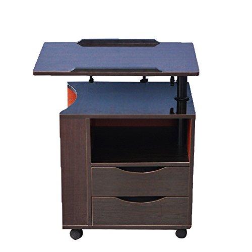 soges Betttisch Laptoptisch Sofatisch aus Holzwerkstoffen hochverstellbar mit drehbar Tischplatte geeignet für Bett Sofa, CT1-BK