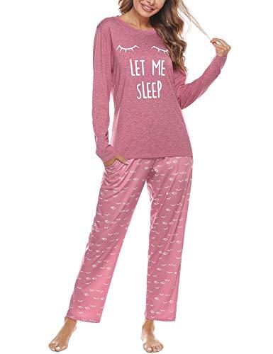 Aibrou Conjunto de Pijamas Mujer, Ropa de Casa Dormir de Manga Larga en Cuello Redondo Pijama Estampado Gato Conjuntos Camiseta y Punto de Onda Pantalon Mujer per Hogar Casual B:Rosado XL