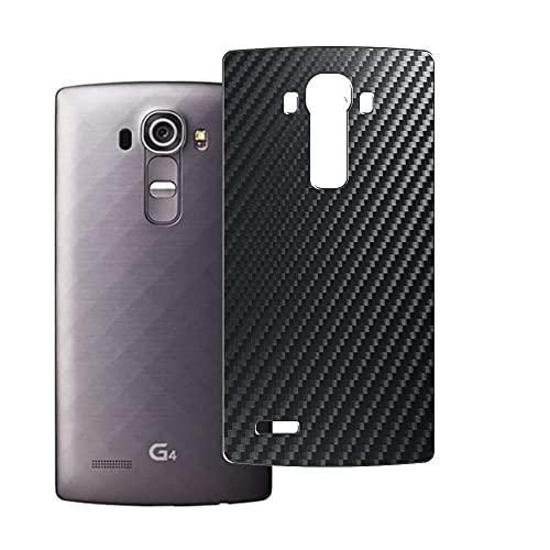 Vaxson 2 Unidades Protector de pantalla Posterior, compatible con LG G4, Película Protectora Espalda Skin Cover - Fibra de Carbono Negro