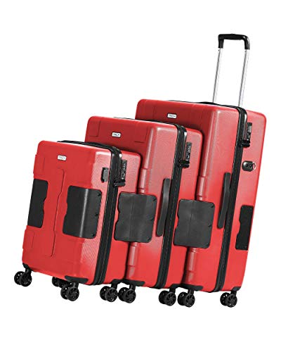 TACH V3 3-Piece Hardcase Connectable Luggage & Carryon Travel Bag Set | Rolling Suitcase with Patented Built-In Connecting System | Easily Link & Carry 9 Bags At Once (wine red)