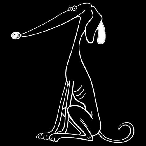 JKGHK Pegatinas para coche, 2 unidades, diseño de perro galgo, cola de coche, divertido, vinilo para coche, decoración de parachoques, color negro/plateado 10,2 x 11,5 cm