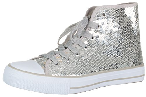 Brandsseller - Zapatillas deportivas para mujer con lentejuelas, altura media, color Plateado, talla 38 EU