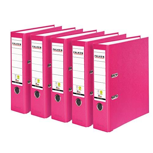Original Falken 5er Pack PP-Color Kunststoff-Ordner. Made in Germany. 8 cm breit DIN A4 Pastell-Farbe pink Vegan Ringordner Aktenordner Briefordner Büroordner Plastikordner Schlitzordner