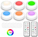 LED Puck Light, JoySusie Wireless Counter Light, 16 Color Changeable Under Cabinet Lights, Closet Light, Stick On Night Light, with 2 Remote Controls & Timing Function (6 Pack)