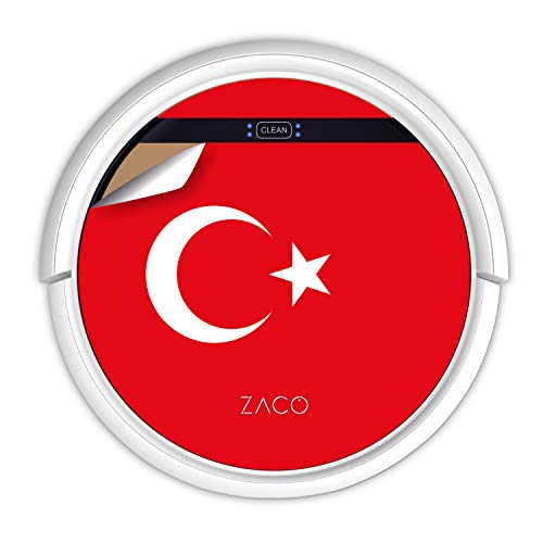 ZACO V5sPro Robot aspirateur avec fonction de nettoyage, 2 en 1 nettoyage jusqu'à 180 m², pour sols durs, protection contre les chutes, sans sac, avec station de charge, 300 ml, drapeau turc