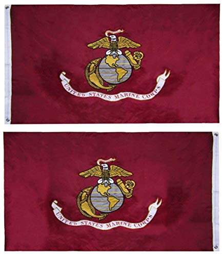 Trade Winds Flags US Marine Corps Flag (Heavy Duty & Double-Sided | Embroidered Inside/Outside Use | UV Protected Long Lasting Nylon Brass Grommets for Display | USMC Flag 3x5 ft) (Made in USA)