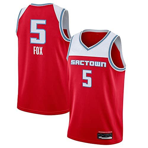 Hombre Jersey,NBA Kings n#5 Fox Ropa de Baloncesto,Camisetas Al Aire Libre Casual Mujer Redondo CháNdales,Red,S