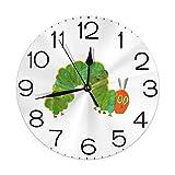 Melinda Perrodin The Very Hungry Caterpillar Reloj de Pared Redondo Reloj Elegante Pintura al óleo Reloj Digital MUTO