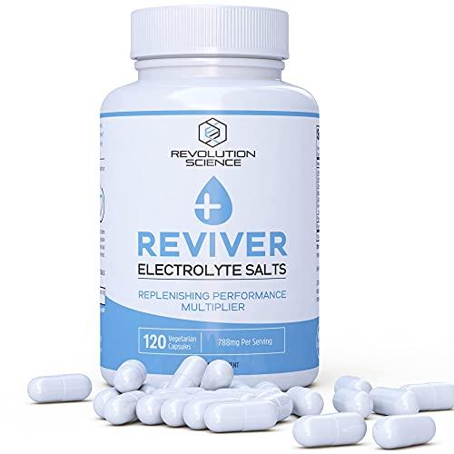 Reviver Salt Tablets Electrolyte Pills, 120 Salt Pills with Electrolytes Tablets, Fasting Salts Electrolyte Capsules, Hydration Tablets for Runners, Electrolytes Keto Friendly Salt Tabs Supplement