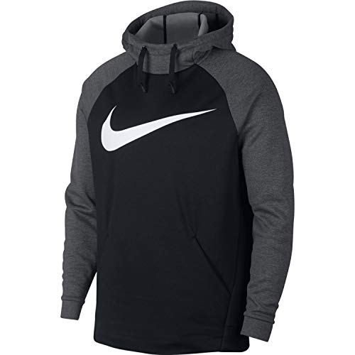Nike Men's Swoosh Essential Therma Training Hoodie (Medium, Black/Charcoal Heather/White)