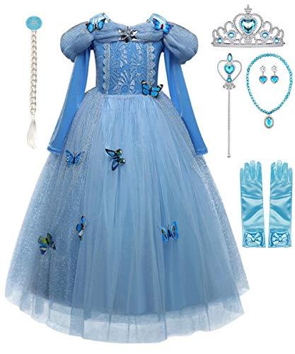 Fanessy Princesa Cenicienta Vestido Niñas Encaje Azul Manga Larga Tul Mariposa Brillante Cumpleaños Navidad Halloween Carnaval Cosplay Fiesta Disfraces Niños 3-10 años
