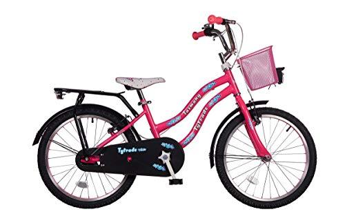 20 Zoll Kinder Mädchen City Fahrrad Kinderfahrrad Cityfahrrad Citybike Mädchenfahrrad Kinderrad Mädchenrad Bike Rad Rücktritt Rücktrittbremse STVO Beleuchtung TAZMANY PINK TY2021