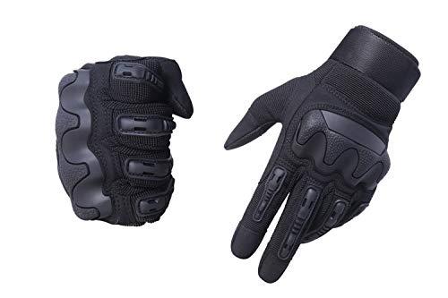 HIKEMAN Motorradhandschuhe Sport Taktische Handschuhe,Herren Voller Finger Touchscreen Schutzhandschuhe für Männer & Frauen Training Klettern Jagen Wandern Airsoft Paintball und Arbeit(Schwarz, XL)