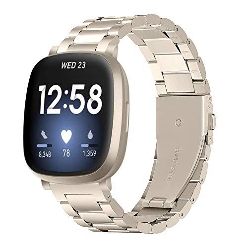 XIALEY Correas Compatible con Fitbit Versa 3 / Fitbit Sense, Bandas De Repuesto De Acero Inoxidable De Metal Pulseras para Hombres Y Mujeres Compatibles con Versa 3 / Sense,Champagne Gold