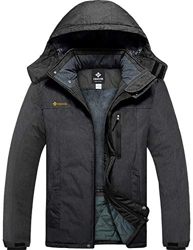 GEMYSE Men's Mountain Waterproof Ski Snow Jacket Winter Windproof Rain Jacket (Graphite Grey,Large)