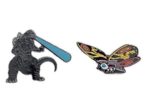 Godzilla Monster Classic Logo Metal Enamel Pin Godzilla and Mothra Kaiju Godzilla 65th Exclusive Pin Set