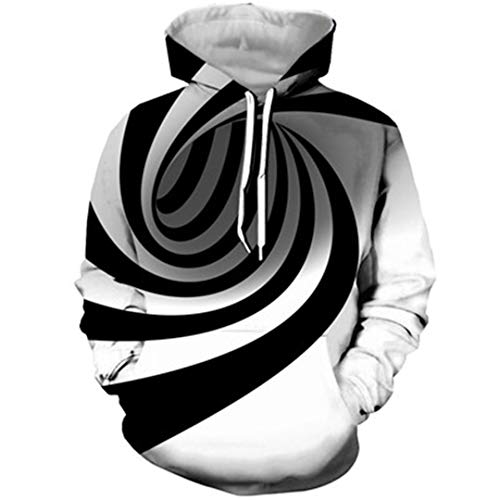 JSR-Hoodie Blanc Unisxe Impression 3D Vertigo Noir Hypnotic Sweat-Shirt à Manches Longues Sweats à Capuche Illusion Optique 1 XL