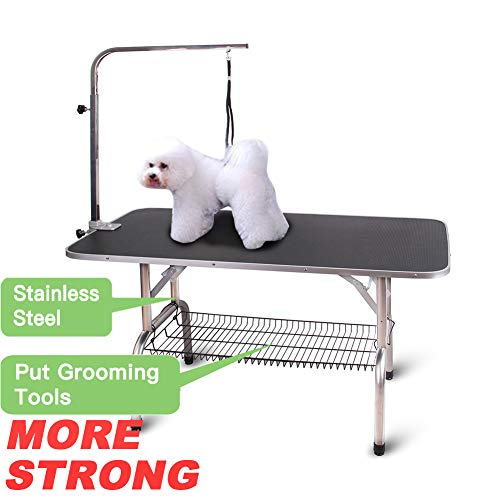 Polar Aurora Pingkay 48'' Black Heavy Duty Pet Professional Dog Show Foldable Grooming Table w/Adjustable Arm & Noose & Mesh Tray