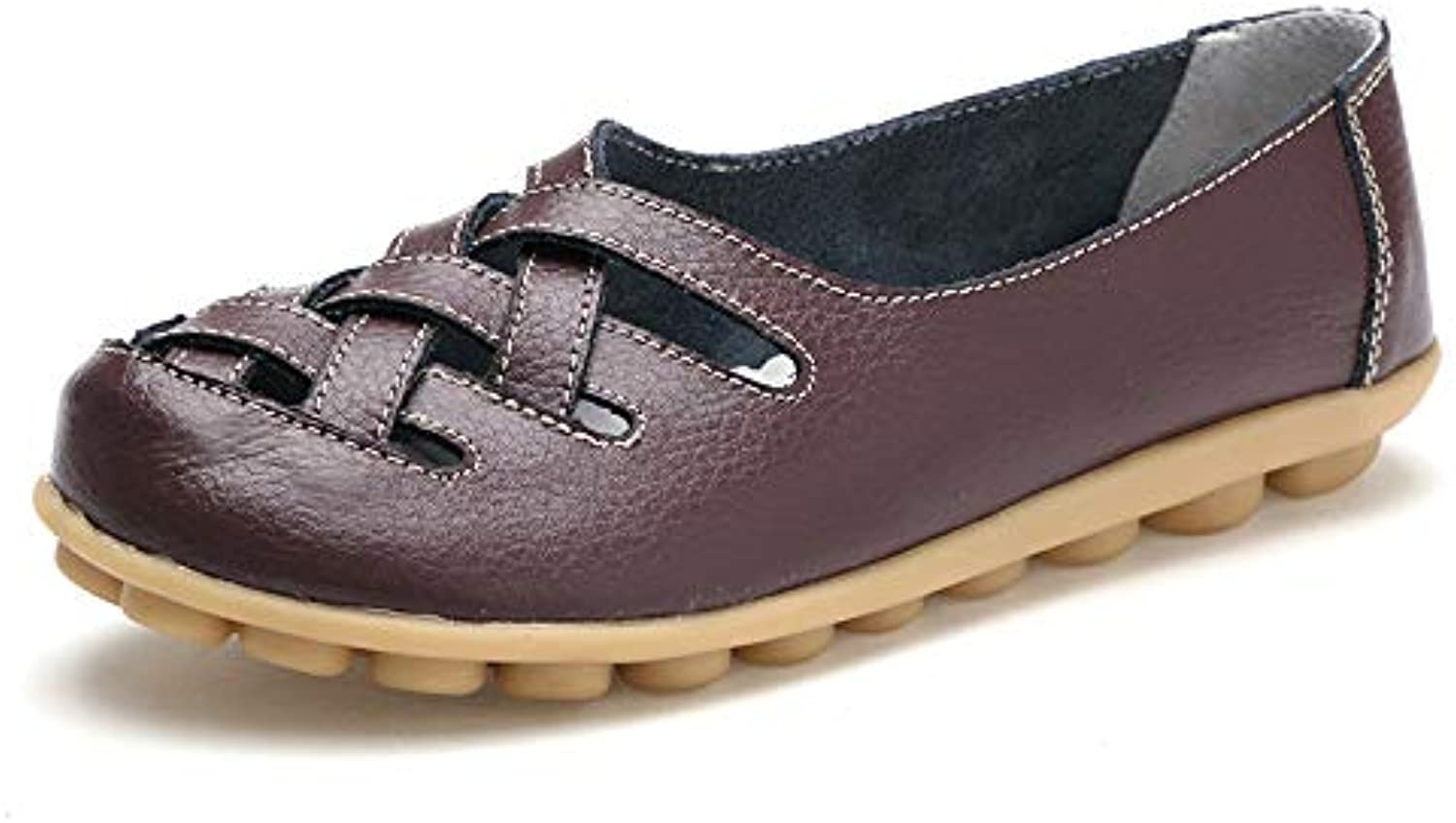 DUOYANGJIASHA Women's Leather Loafer Casual Flat shoes Rubber Sole shoes (9 B(M) US, Coffee)