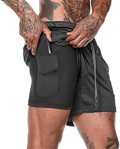 Mens Running Shorts 2 in 1 Athletic Training Gym Quick Dry Shorts with Phone Pocket Black product image