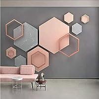 XSJ 壁紙カスタム3D壁画シンプル3D六角形モザイクモダンミニマリスト幾何学的テレビ背景壁紙壁画-350X250CM